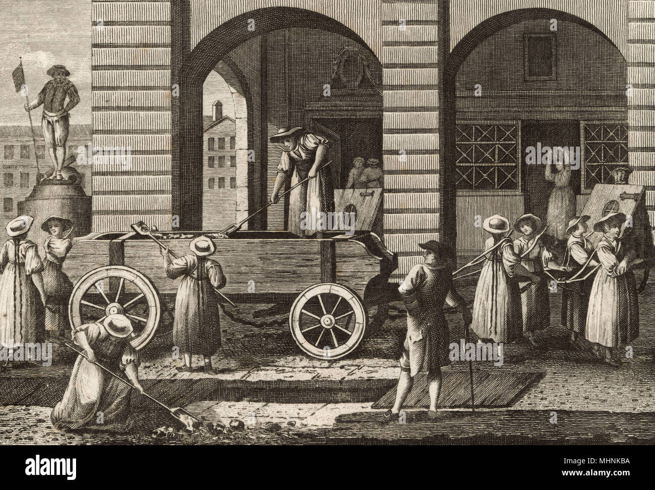 Prostitutes punished in Switzerland by dragging the Scavenger's Cart and loading it up with filth from the streets.     Date: 18th century - Stock Image
