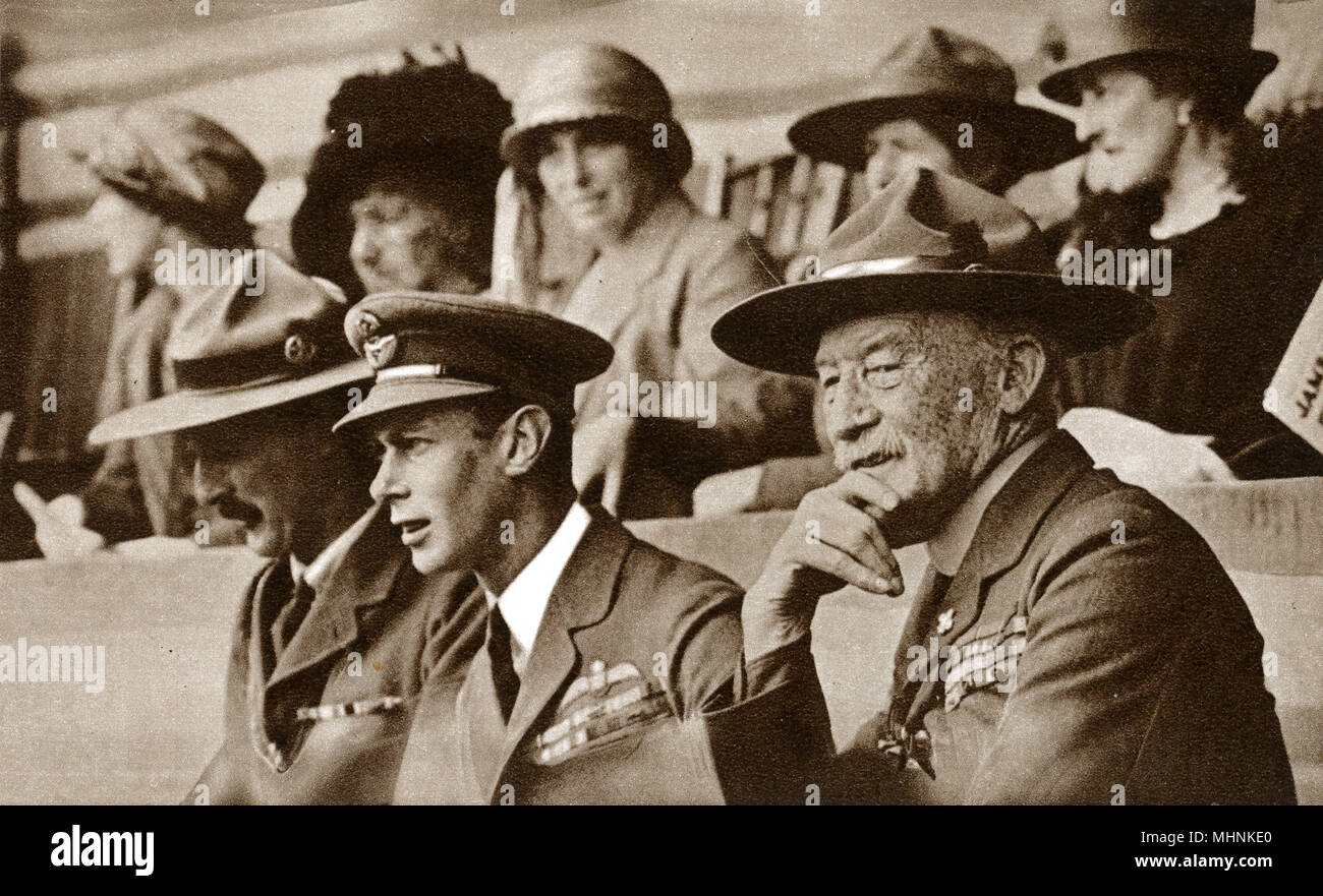 Albert, Duke of York and Lord Baden-Powell at a great Scout Jamboree held at Wembley Stadium.     Date: 1924 - Stock Image
