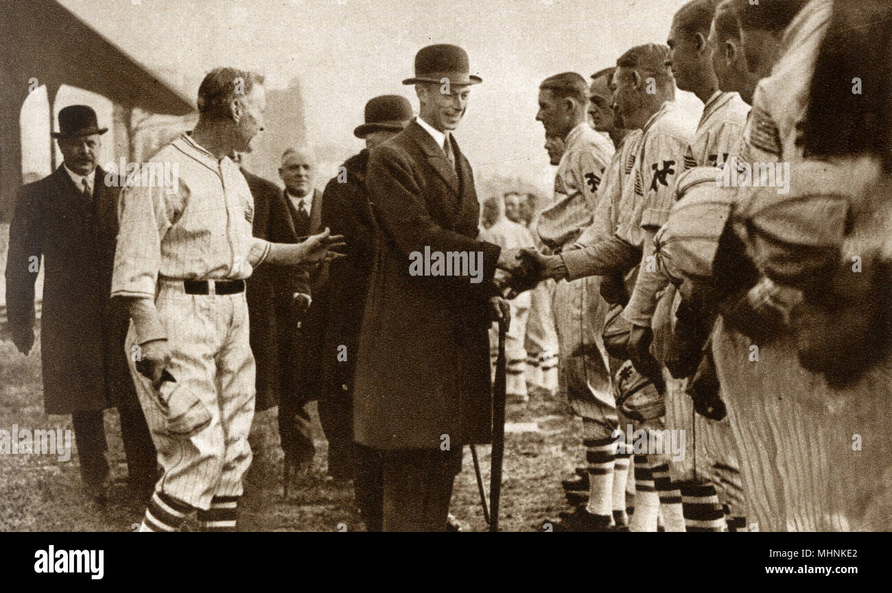 Albert, Duke of York (1895-1952) (later King George VI) atteding an Exhibition Baseball Match at Stamford Bridge (the home of Chelsea FC) between the New York Giants and the Chicago White Socks.     Date: 1924 - Stock Image