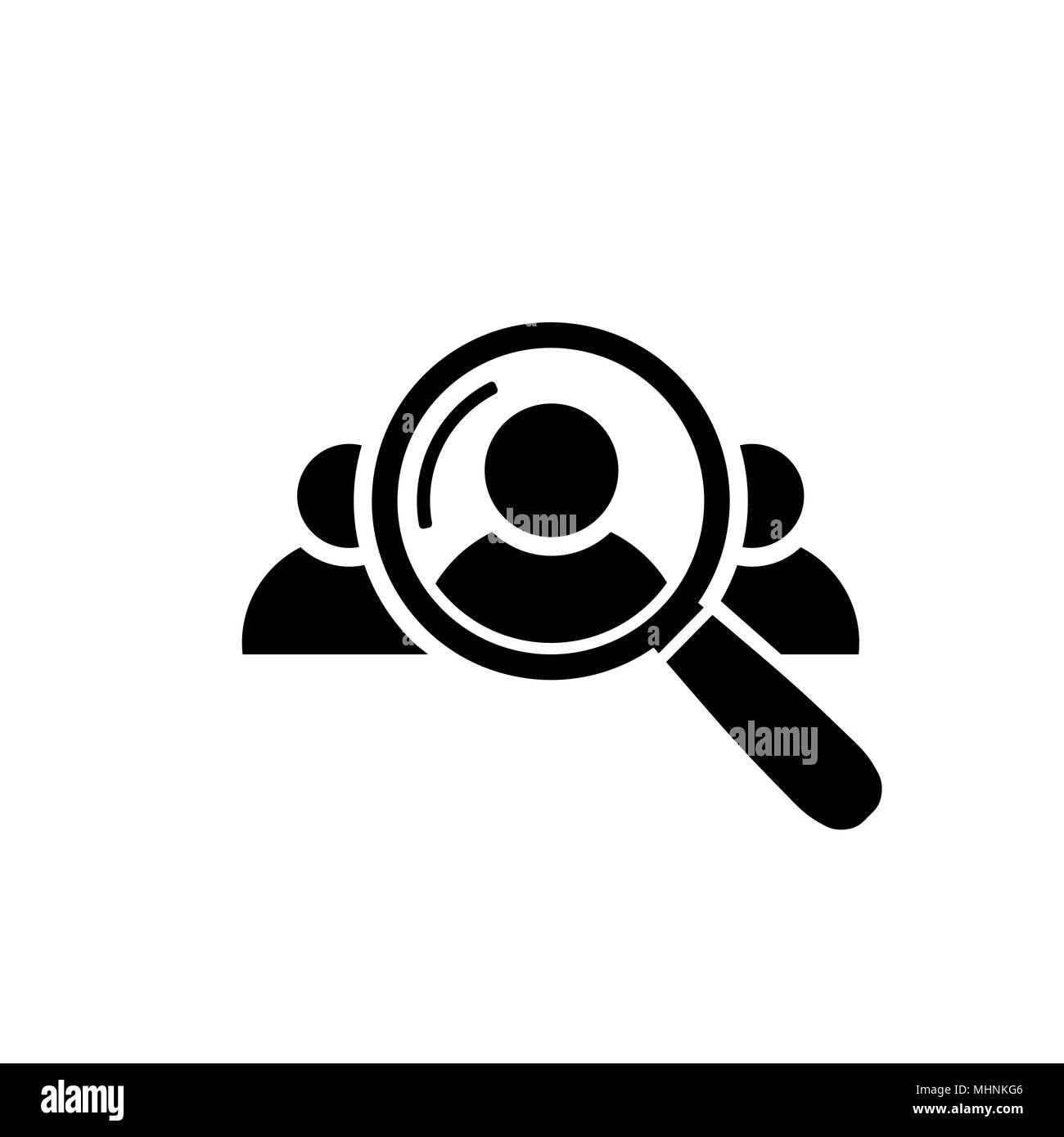 Human Resource Icon. Search for employees and job - Stock Vector