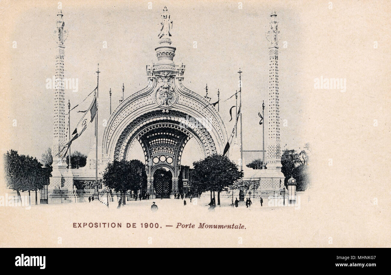 The Monumental Gate ('Porte Monumentale') - Paris Exposition Universelle of 1900.     Date: 1900 - Stock Image