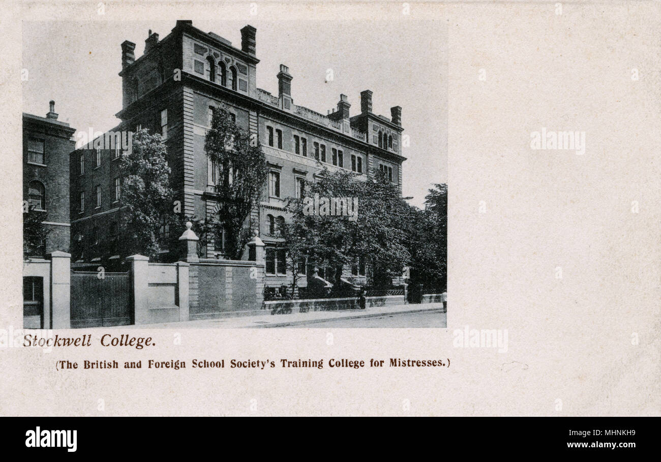 Stockwell College, London - The British and Foreign School Society's Training College for Mistresses (....!)     Date: circa 1908 - Stock Image