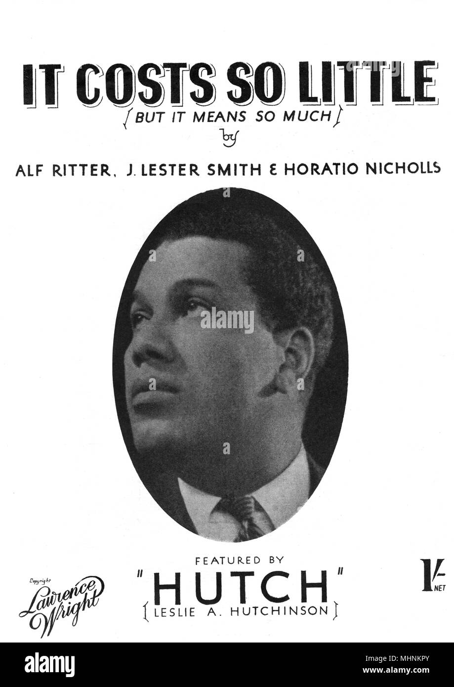 'It costs so little but it means so much' by Alf Ritter, J. Lester Smith and Horatio Nicholls featured by Leslie A. Hutchinson ('Hutch') - Music Sheet Cover.     Date: circa 1942 - Stock Image