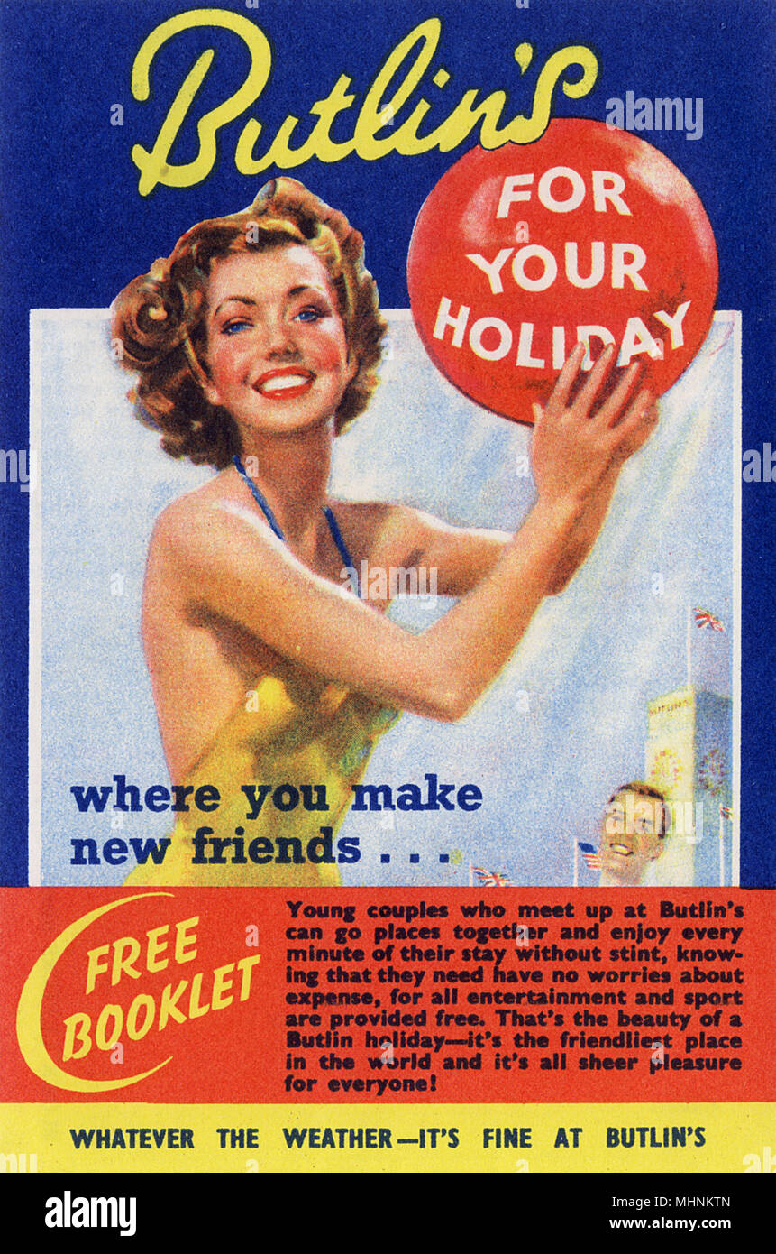 Flyer for a free Butlin's Holiday Booklet     Date: late 1930s - Stock Image