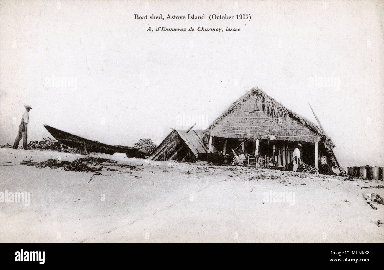 Boat Shed - Astove Island, part of the Cosmoledo Group, part of the Outer Islands of the Seychelles, lying in the southwest of the island nation, 1,000 kilometres (620 miles) from Mahe Island. The whole island appears to have been turned over to the harvesting and drying of mangrove bark.      Date: 1907 - Stock Image