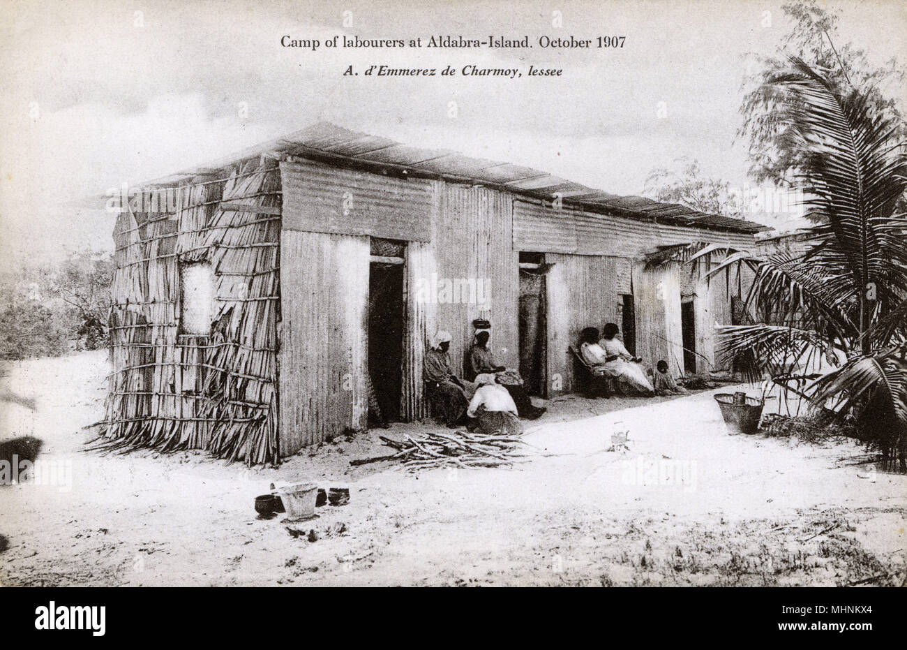 Picault Island, part of the Aldabra Group, part of the Outer Islands of the Seychelles, lying in the southwest of the island nation, 1,000 kilometres (620 miles) from Mahe Island. Labourers' House - the whole island appears to have been turned over to the harvesting and drying of mangrove bark.     Date: 1907 - Stock Image