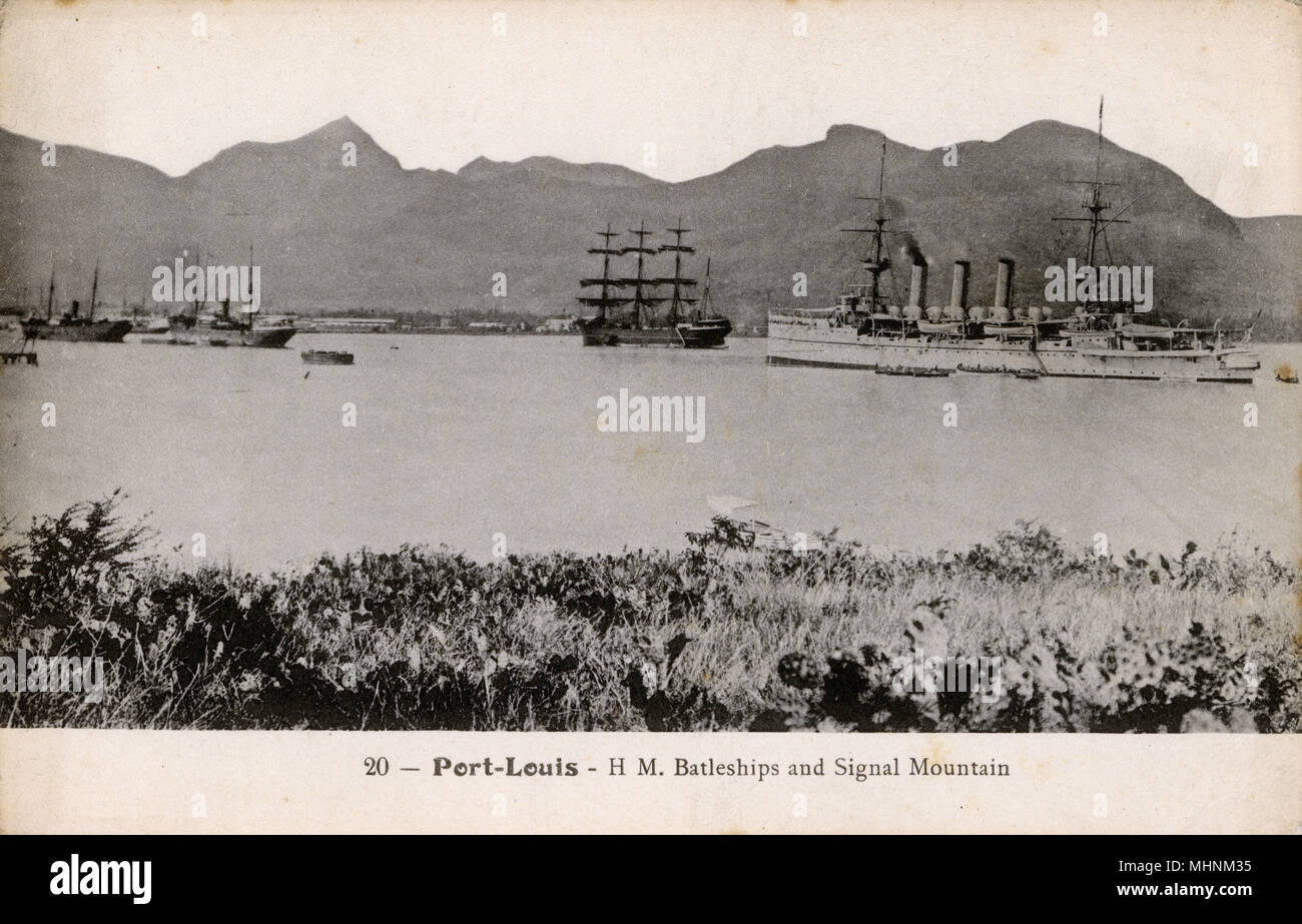 Mauritius - Port Louis - HM Battleships and Signal Mountain.     Date: circa 1909 - Stock Image