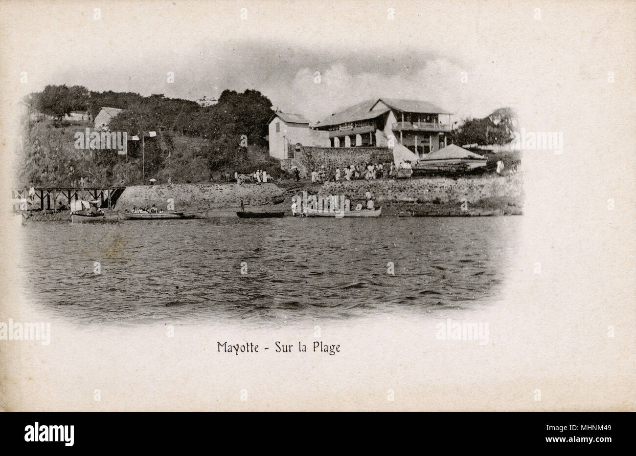 Mayotte is an archipelago in the Indian Ocean between Madagascar and the coast of Mozambique. Its a department and region of France, though traditional Mayotte culture is most closely related to that of the neighboring Comoros islands.      Date: circa 1902 - Stock Image