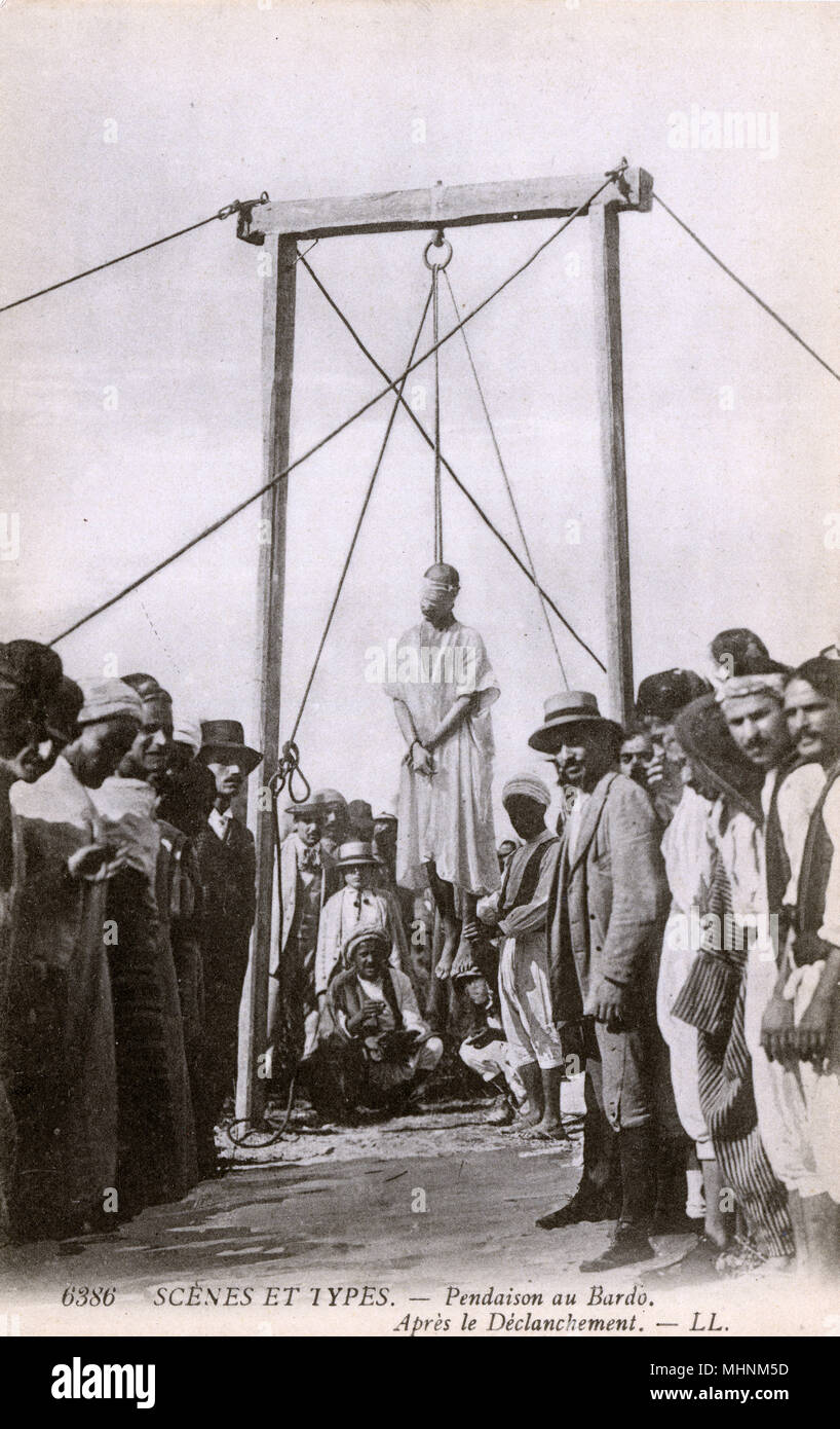 Bardo, Tunisia - After an Execution by Hanging     Date: circa 1908 Stock Photo