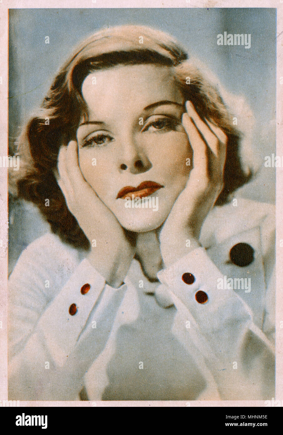 Katharine Hepburn (19072003) - American film actress with head in hands.     Date: circa 1936 - Stock Image