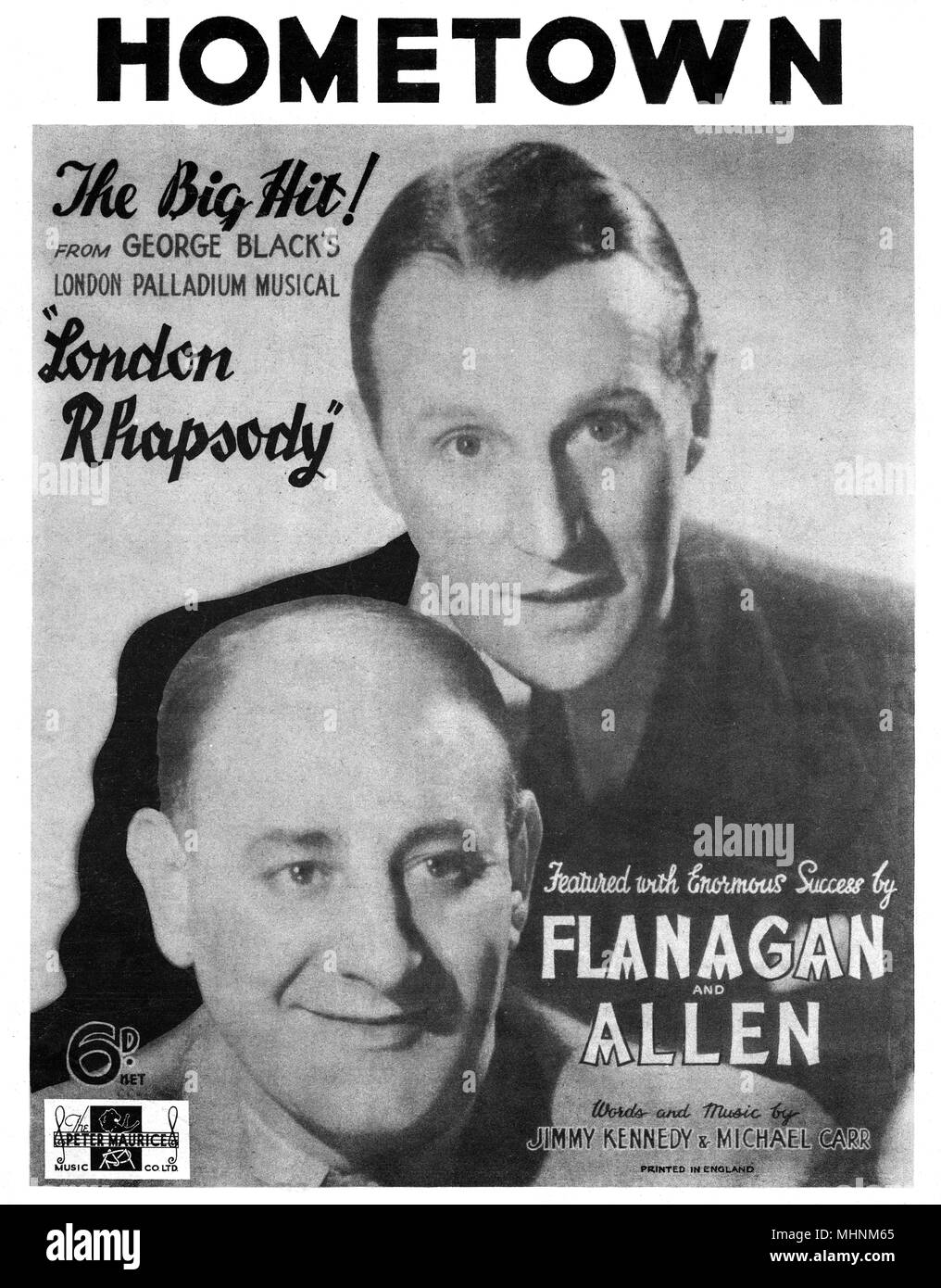'Hometown' - Music Sheet Cover, 'The Big Hit' from George Black's London Palladium Musical 'London Rhapsody', featured with Enormous, success by Flanagan and Allen, words and music by Jimmy Kennedy and Michael Carr.     Date: circa 1937 - Stock Image