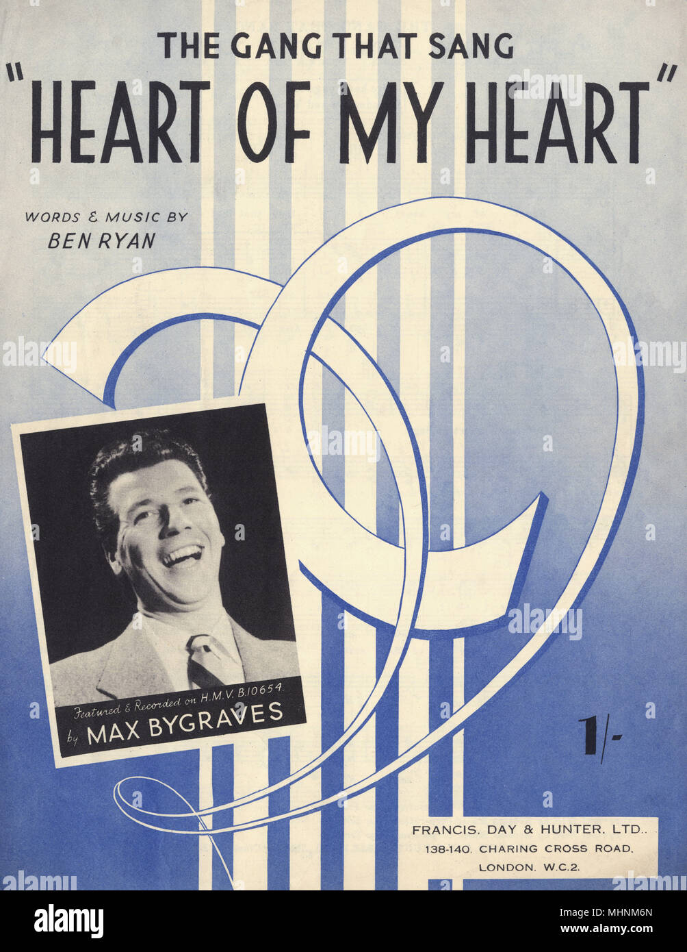 'The gang that sang 'Heart of my Heart''- Music Sheet Cover, words and music by Ben Ryan, featured and recorded on H.M.V. by Max Bygraves. An illustration with a photo of Max Bygraves on the left bottom.     Date: circa 1946 - Stock Image