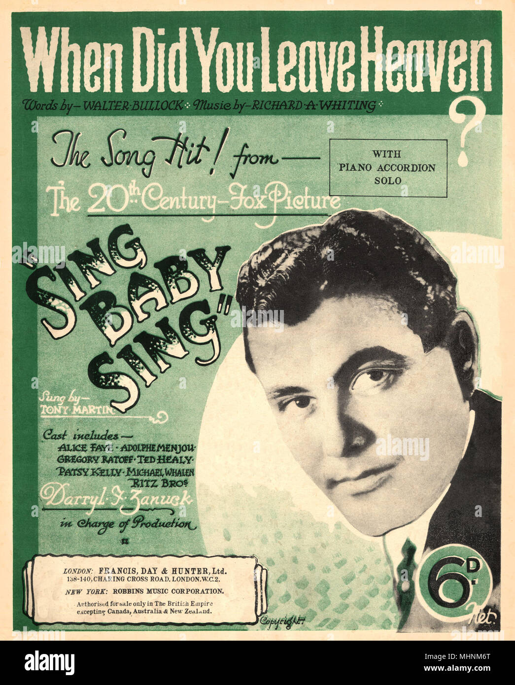 'When did you leave heaven?' - Music Sheet Cover. The 20th century Fox Picture presents 'Sing Baby Sing', sing by Tony Martin. An illustration with an photo of Tony Martin on the right middle of the cover.     Date: circa 1936 - Stock Image