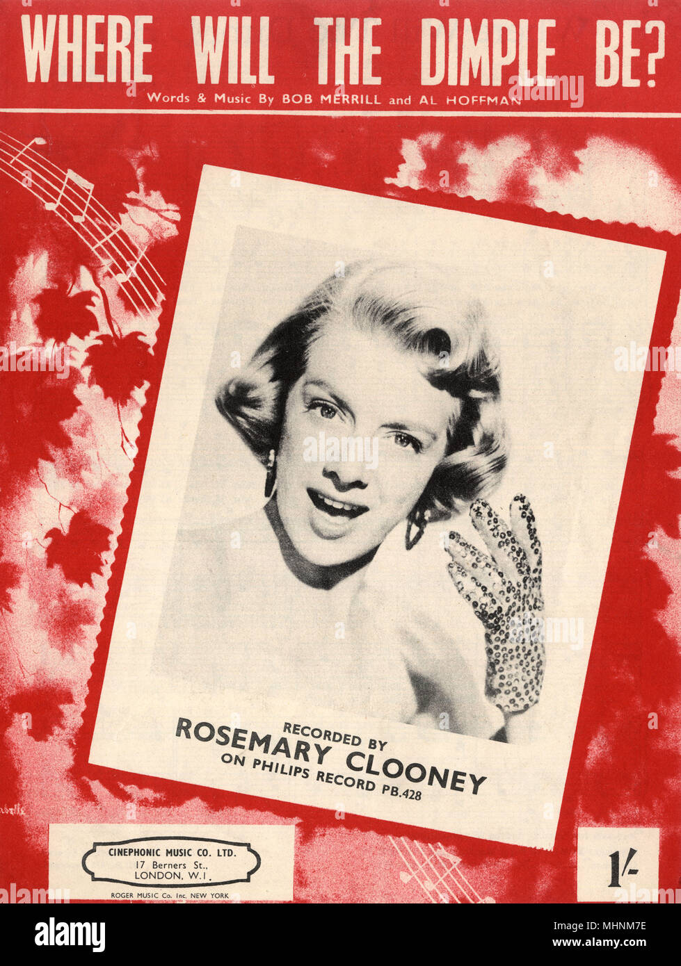 'Where will the dimple be?' - Music Sheet Cover, words and music by Bob Merrill and Al Hoffmann and recorded by Rosemary Clooney on Philips Records. An illustration of maple leaves with a photo of Rosemary Clooney in the middle.     Date: circa 1950 - Stock Image