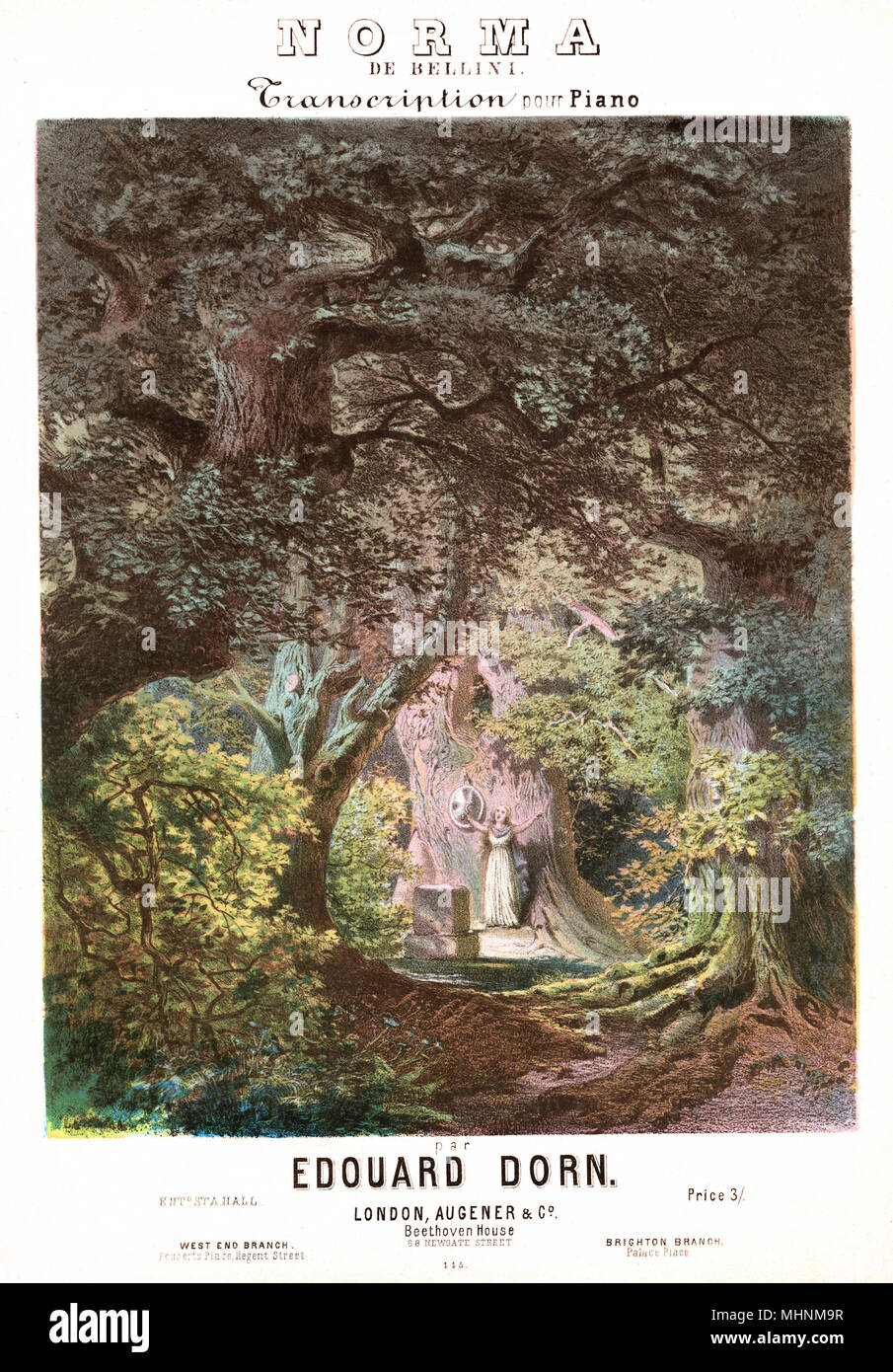 'Norma de Bellini' - Music Sheet Cover, Transcription for piano by Edouard Dorn. AN illustration of a singing woman in a forest.     Date: circa 1831 - Stock Image