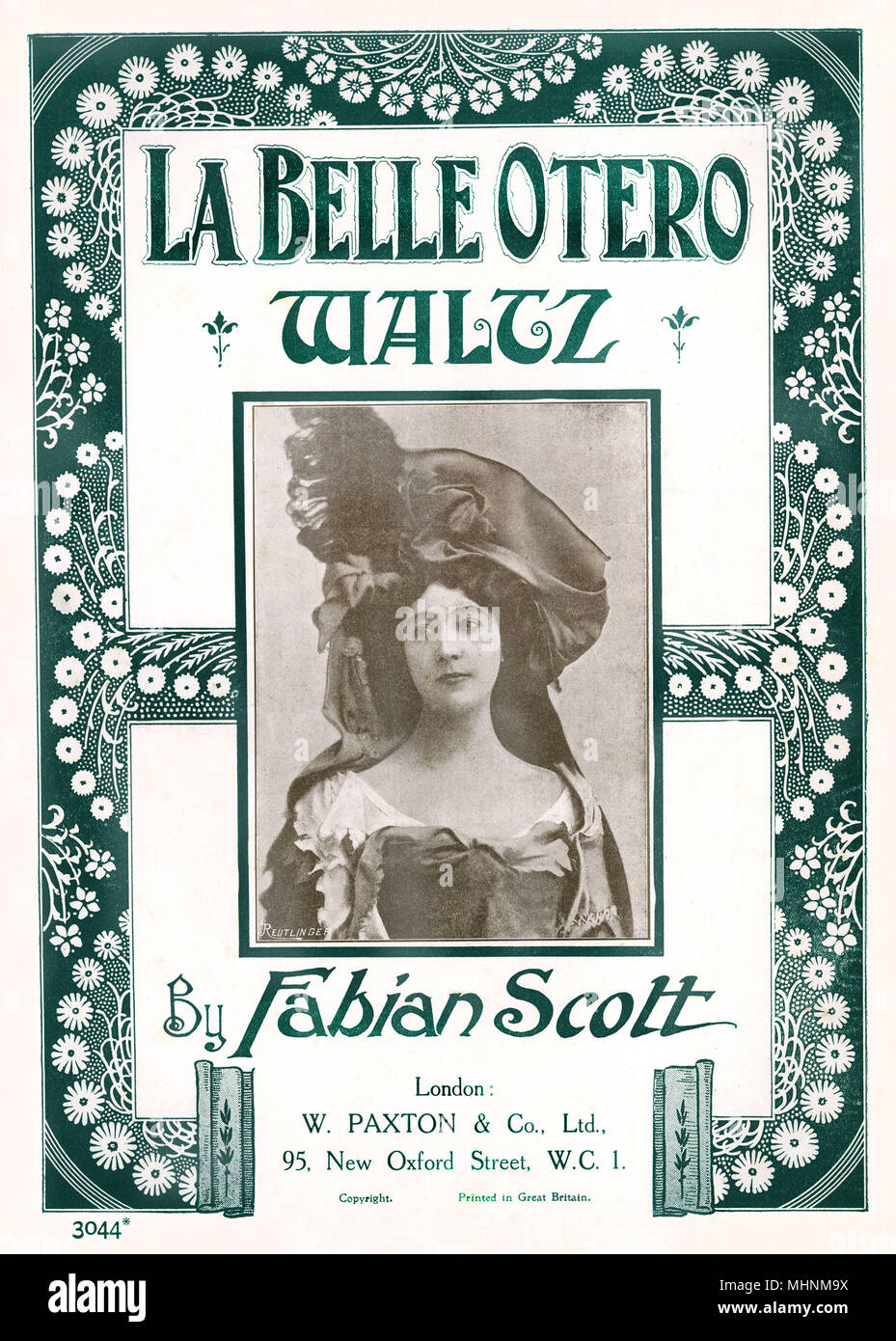 'La Belle Otero' by Waltz - Music Sheet Cover by Fabian Scott starring La Belle Otero. An illustration of a frame with flowers and a portrait of the singer in the middle.     Date: circa 1900 - Stock Image