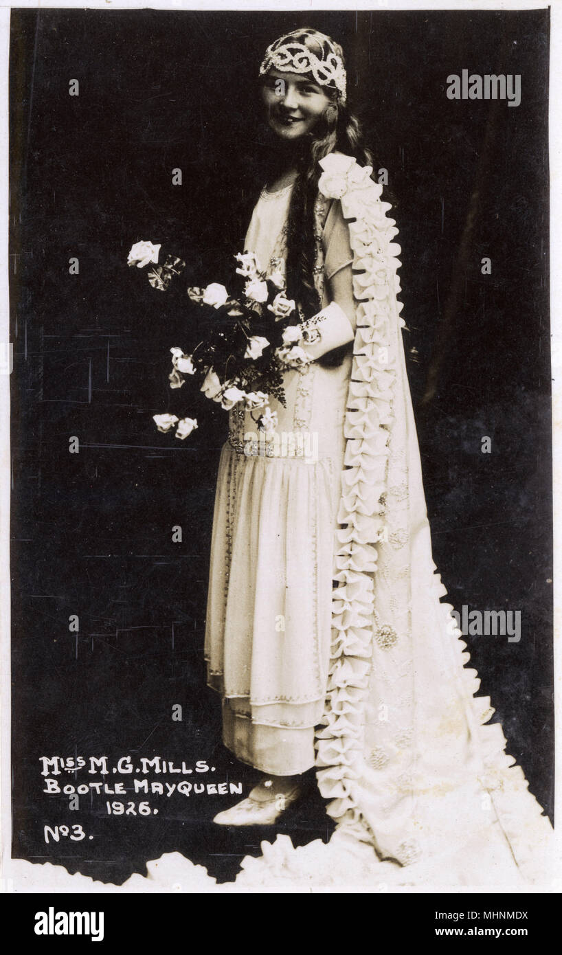 Miss M. G. Mills - The Bootle May Queen, Merseyside.     Date: 1926 - Stock Image