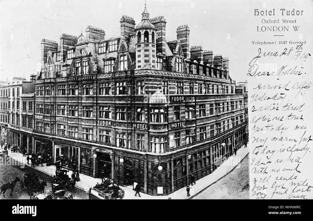 Hotel Tudor, Oxford Street, Central London.      Date: circa 1900 - Stock Image