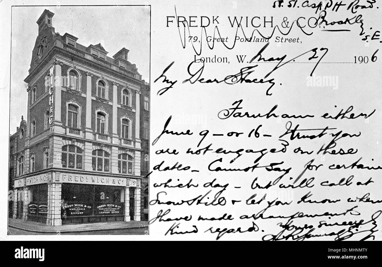 Frederick Wich Co 79 Great Portland Street London Wholesale And Export Manufacturers Of Leather Goods Date Circa 1906