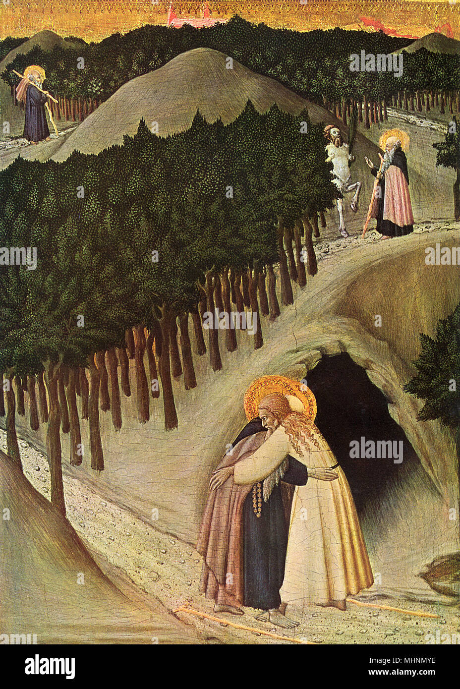 The Meeting of St. Anthony and St. Paul by Sassetta (1392-1450) - Sienese - painted on wood panel     Date: circa 1450 - Stock Image