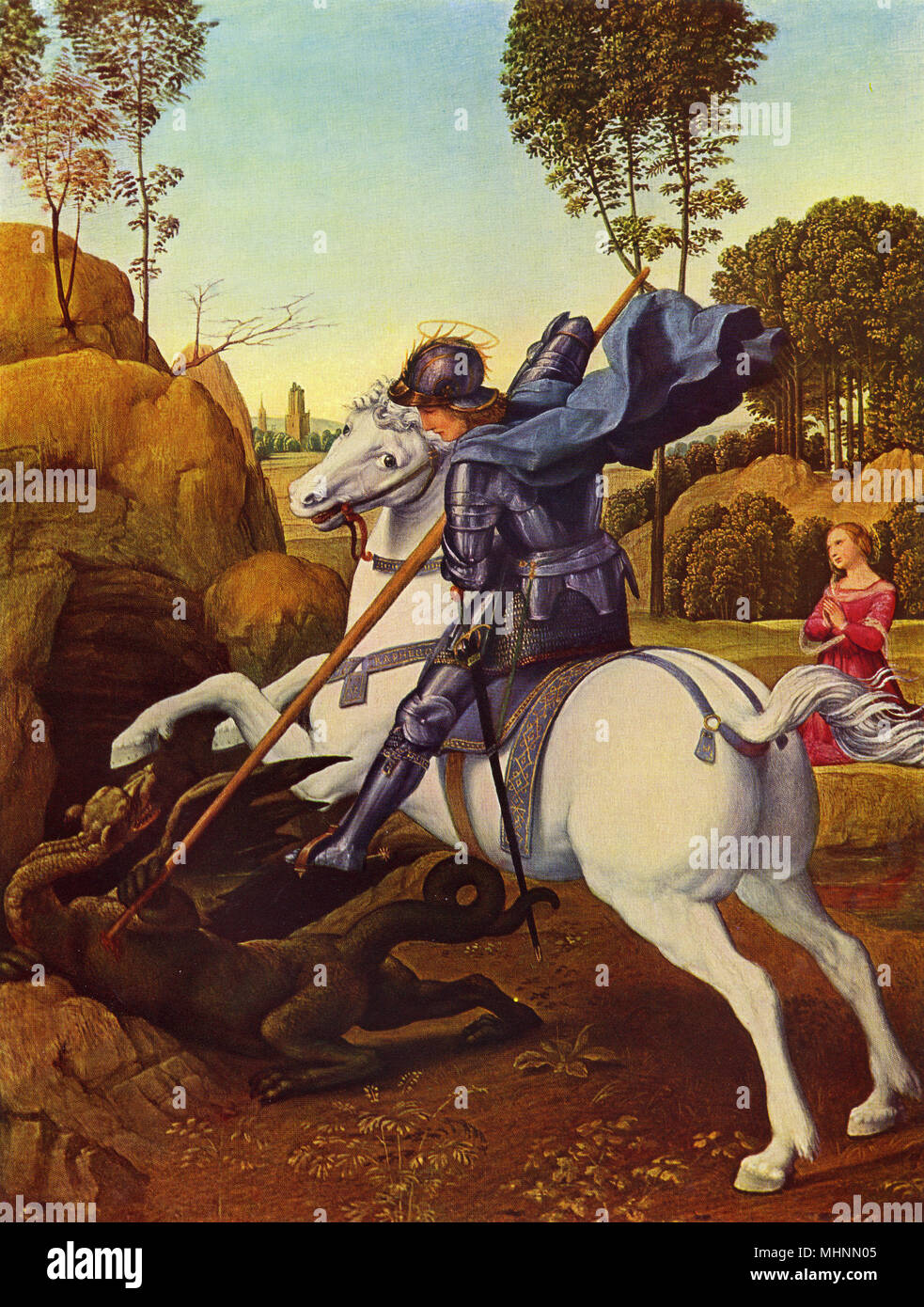 Saint George and the Dragon, by Raphael, circa 1506, Italian Renaissance painting, oil on panel. George was patron saint of England. Raphael was commissioned to create this as a gift for the envoy of the Tudor King Henry VII.     Date: circa 1506 - Stock Image