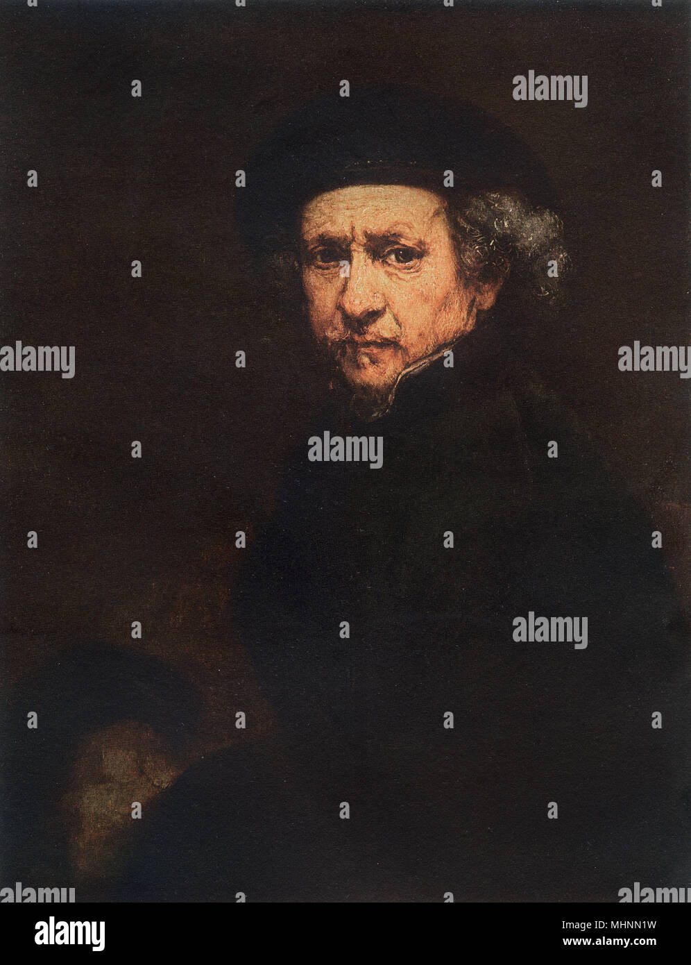 Self-portrait by Rembrandt (1606-1669)     Date: 1659 - Stock Image