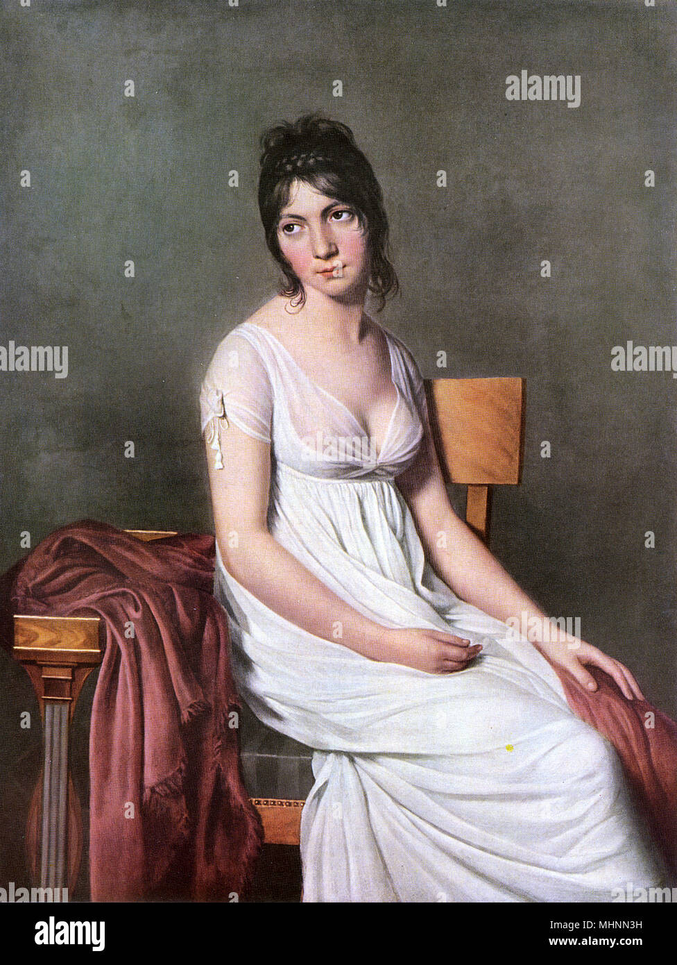 """Madame Hamelin by Jacques-Louis David (1748-1825) - painting on canvas. The subject, Madame Hamelin, a Creole born in Santo Domingo. She became the wife of a Parisian banker, and played a brilliant role in Parisian society of the Directoire period. She was nicknamed """"La Jolie Laide"""". Chateaubriand, whom she captivated, said of her that she possessed the two qualities that also characterized France, nobility and frivolity.     Date: circa 1800 - Stock Image"""