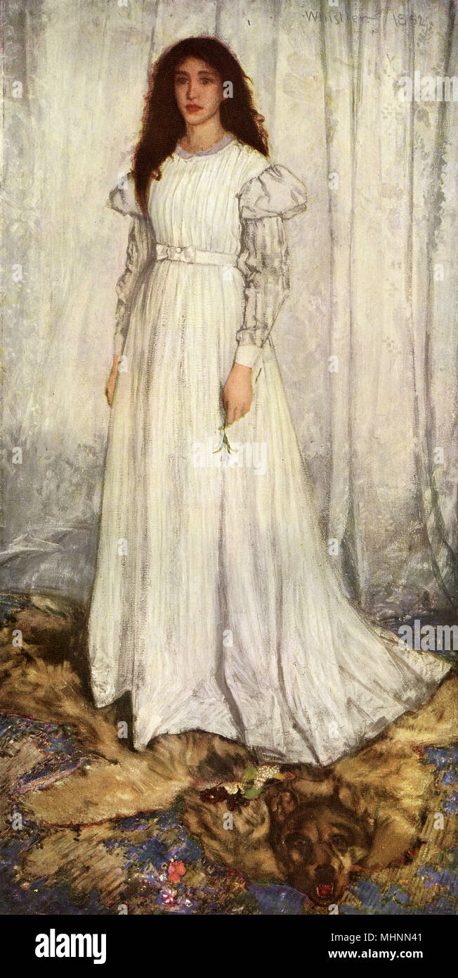 The White Girl by James A. McNeill Whistler (1834-1903)     Date: 1862 - Stock Image
