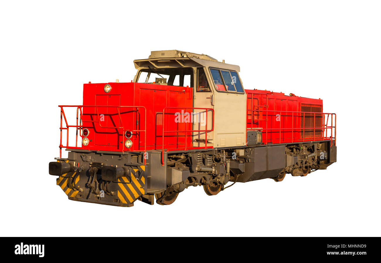 French shunter locomotive isolated on white background - Stock Image