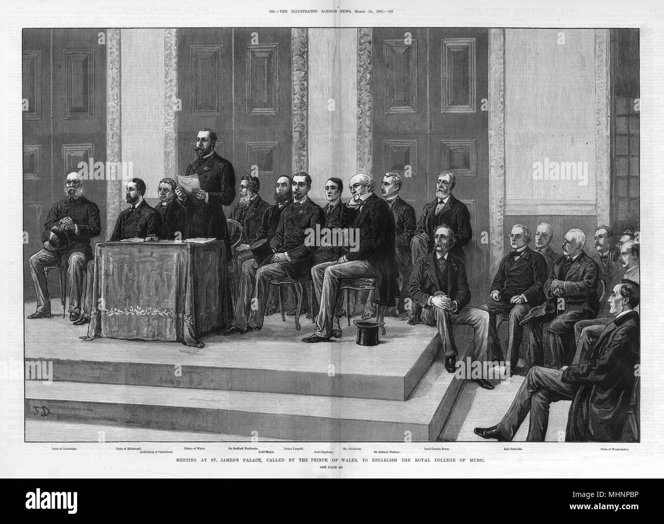 A meeting at St. James's Palace, called by the Prince of Wales, to establish The Royal College of Music. From left to right: Duke of Cambridge, Duke of Edinburgh, Archbishop of Canterbury, Prince of Wales, Sir Stafford Northcote, Lord Mayor, Prince Leopold, Lord Rosebery, Mr Gladstone, Sir Richard Wallace, Lord Charles Bruce, Earl Granville and the Duke of Westminster.     Date: 1882 - Stock Image
