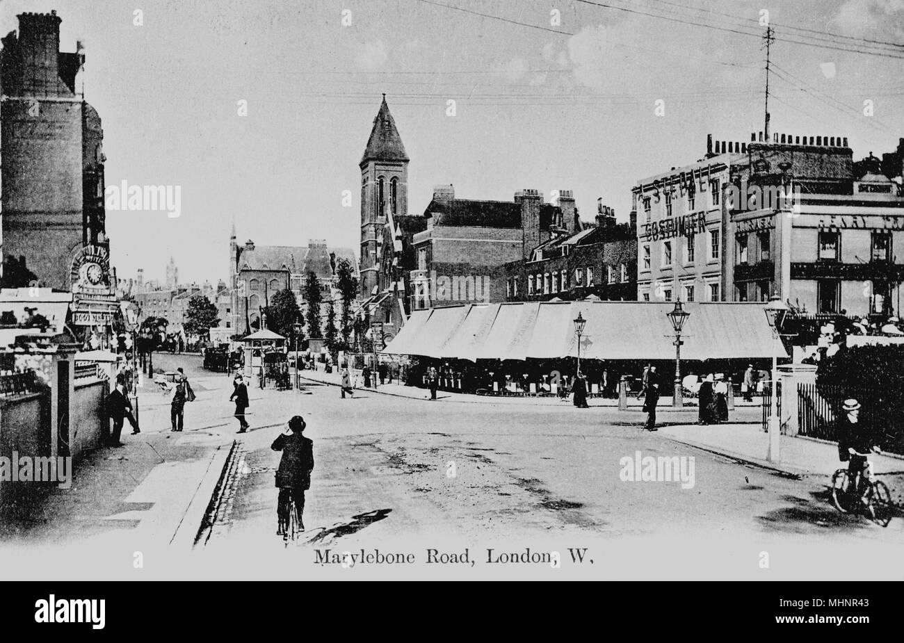 Marylebone Road, Marylebone, London, looking east across Edgware Road from Sussex Gardens.      Date: circa 1905 - Stock Image