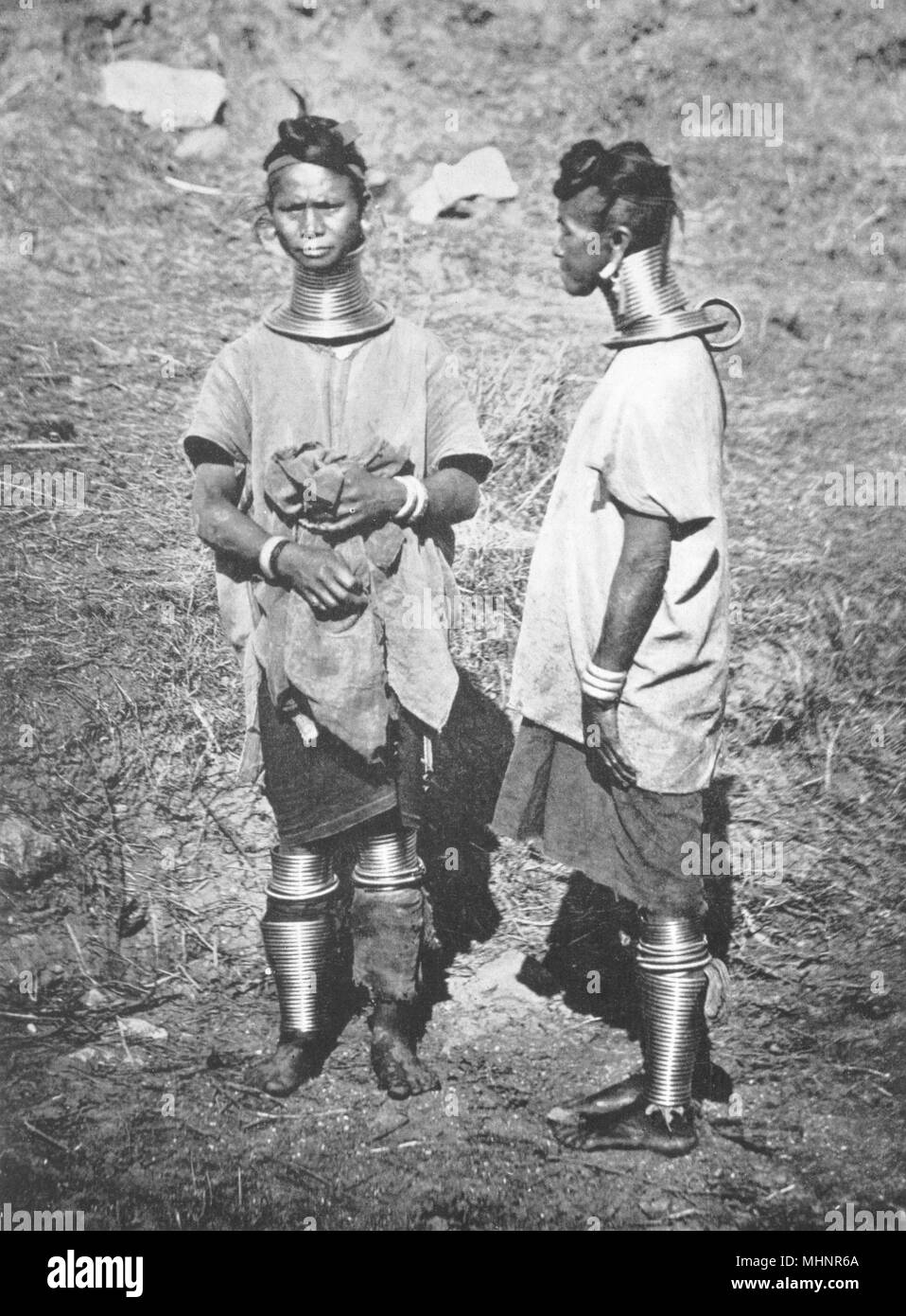 BURMA. Burma. Padaung women; neck-rings 1900 old antique vintage print picture - Stock Image