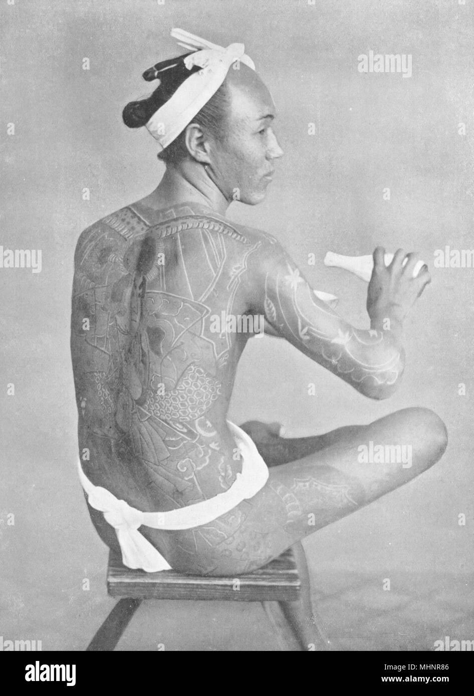 JAPAN. Japan. Tattooing, Japan; mark of low breeding and vulgarity in Japan 1900 - Stock Image