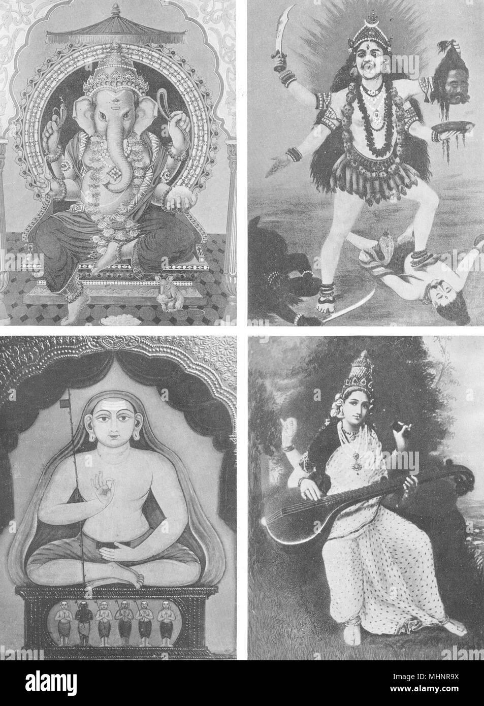 INDIA. Southern. Hindu Pantheon; Ganesa, Kali, Thayumanaswami & Saraswati 1900 - Stock Image