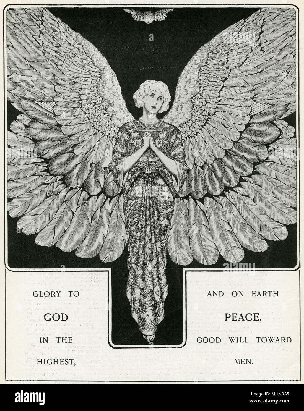 """""""Glory to God in the highest and on Earth PEACE, Good will towards men"""". Winged angel in a pre-raphaelite style. - Stock Image"""