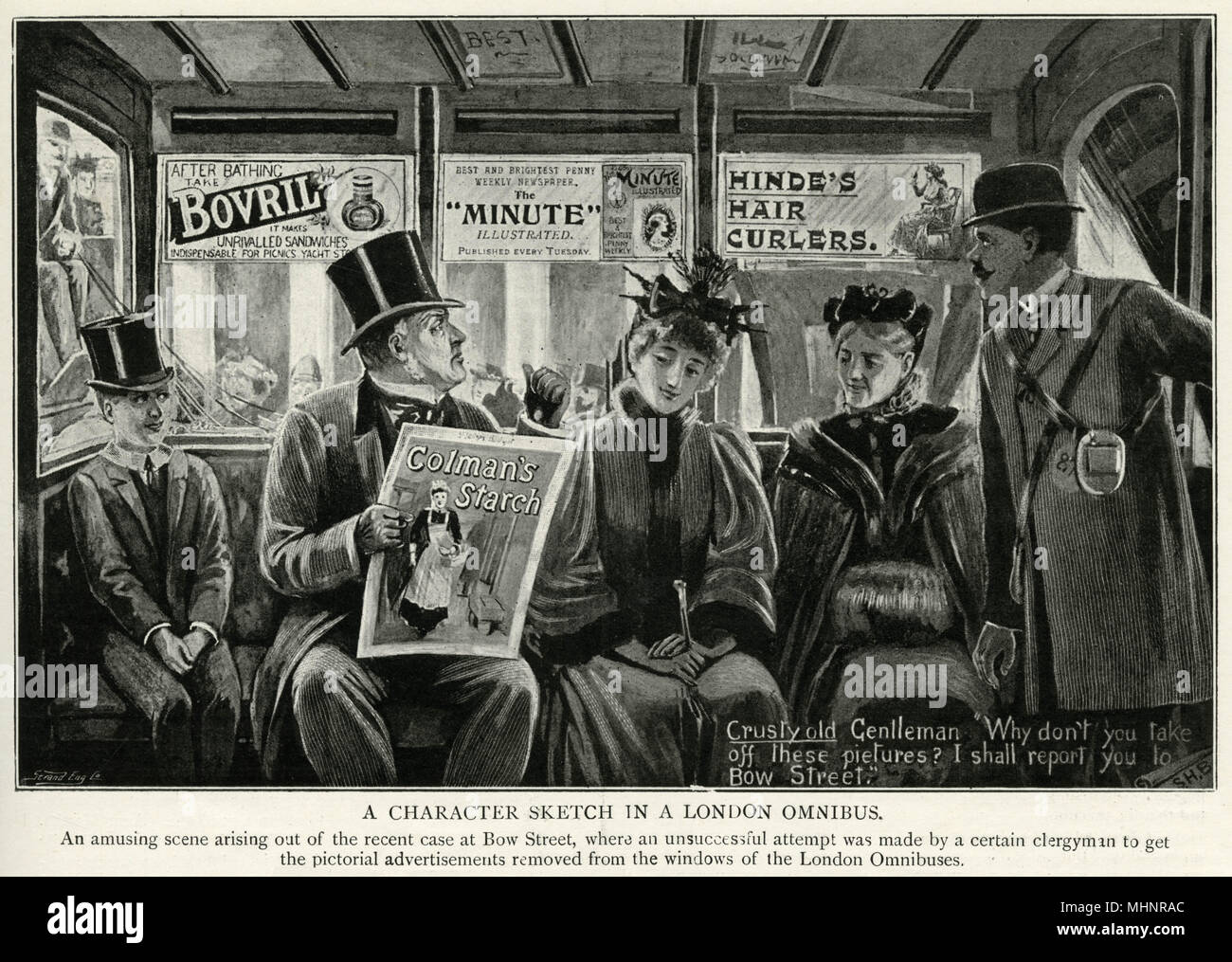 In Bow Street where a Victorian Gentleman objected to the posters on the windows of the London Omnibuses.     Date: 1896 - Stock Image