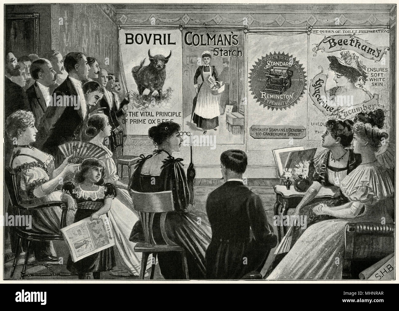 A private view of one of the collections, hobby that came into fashion, enthusiasts are giving up large rooms for the purpose of properly displaying the posters, which were mounted on canvas and rolled up and down like ordinary blinds.     Date: 1896 - Stock Image