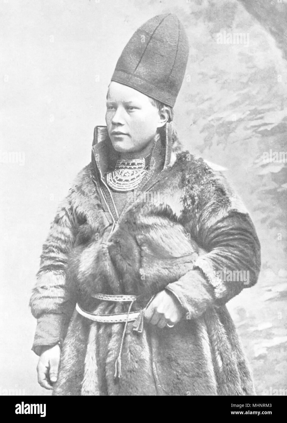 ARCTIC. Lapland. A Laplander;  1900 old antique vintage print picture - Stock Image