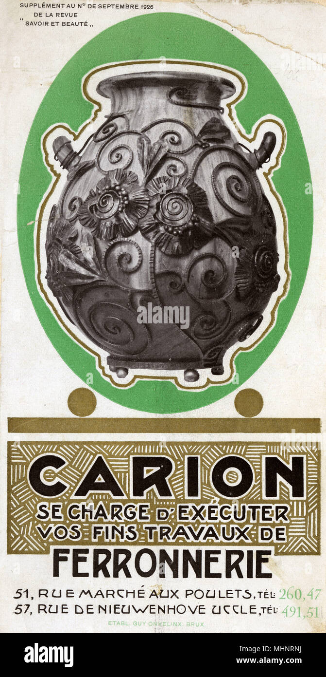 "Brussels, Belgium - Carion - ""..responsible for executing your fine ironwork"" - this fine pot is an example of the detail and exquisite nature of their metalworking craft.     Date: 1926 - Stock Image"