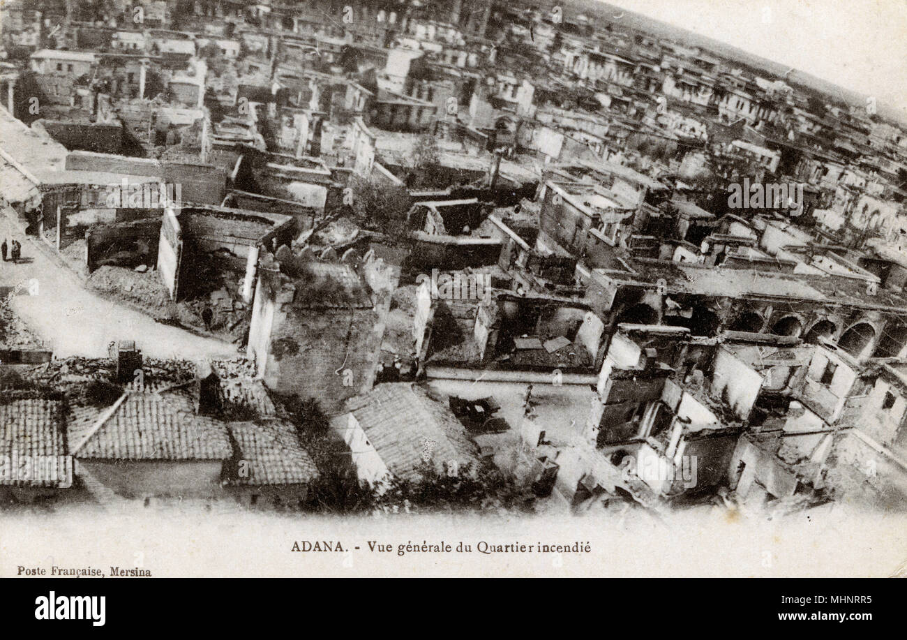 Adana, Turkey - following the Armenian Massacre of April 1909. A religious-ethnic clash in the city of Adana amidst governmental upheaval, resulted in a series of anti-Armenian pogroms throughout the district. Reports estimated that the massacres in Adana Province resulted in 15,000 to 30,000 deaths. Turkish and Armenian revolutionary groups had worked together to secure the restoration of constitutional rule in 1908. On 31 March (or 13 April, by the Western calendar) a military revolt directed against the Committee of Union and Progress seized Istanbul. While the revolt lasted only ten days, - Stock Image