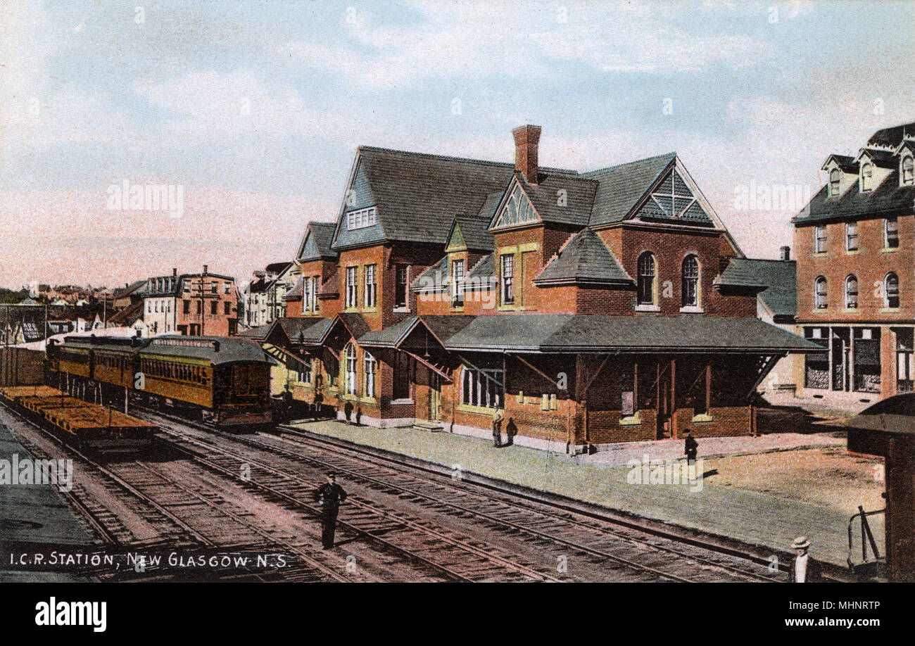 The Intercolonial Railway of Canada (ICR) Station at New Glasgow, Nova Scotia, Canada     Date: circa 1910s - Stock Image