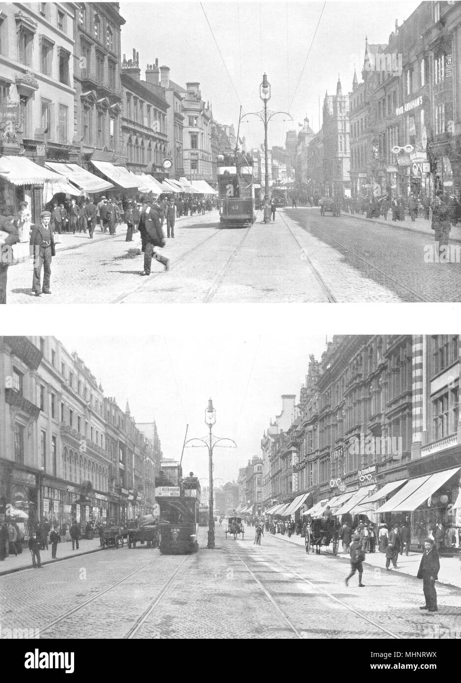 LIVERPOOL. Lord Street, Looking West; Lord Street, Looking East 1900 old print Stock Photo