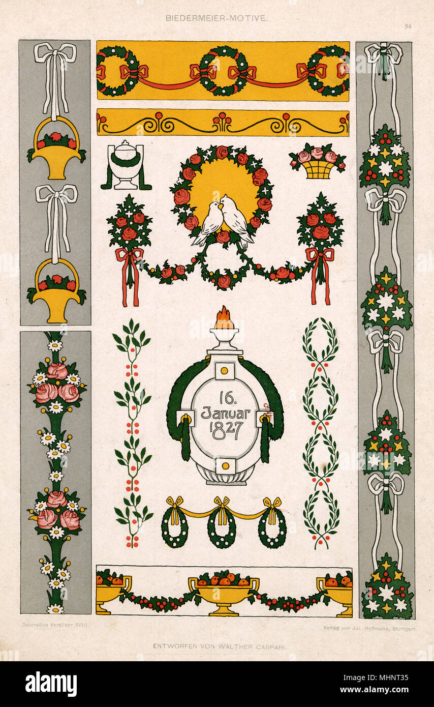 A classic image celebrating the Biedermeier style, which originated in Germany and Austria, flourished in the prosperous middle-class homes of Europe from about 1815 to 1848. Featuring floral motifs, love birds, urns and baskets in a formal, decorative style.     Date: circa 1827 - Stock Image