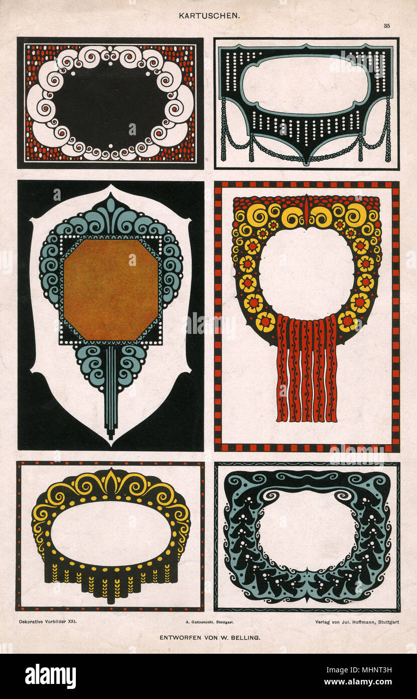 Art Deco Motifs - Frames, surrounds and borders in a strong graphic and colourful style.     Date: circa 1920s - Stock Image
