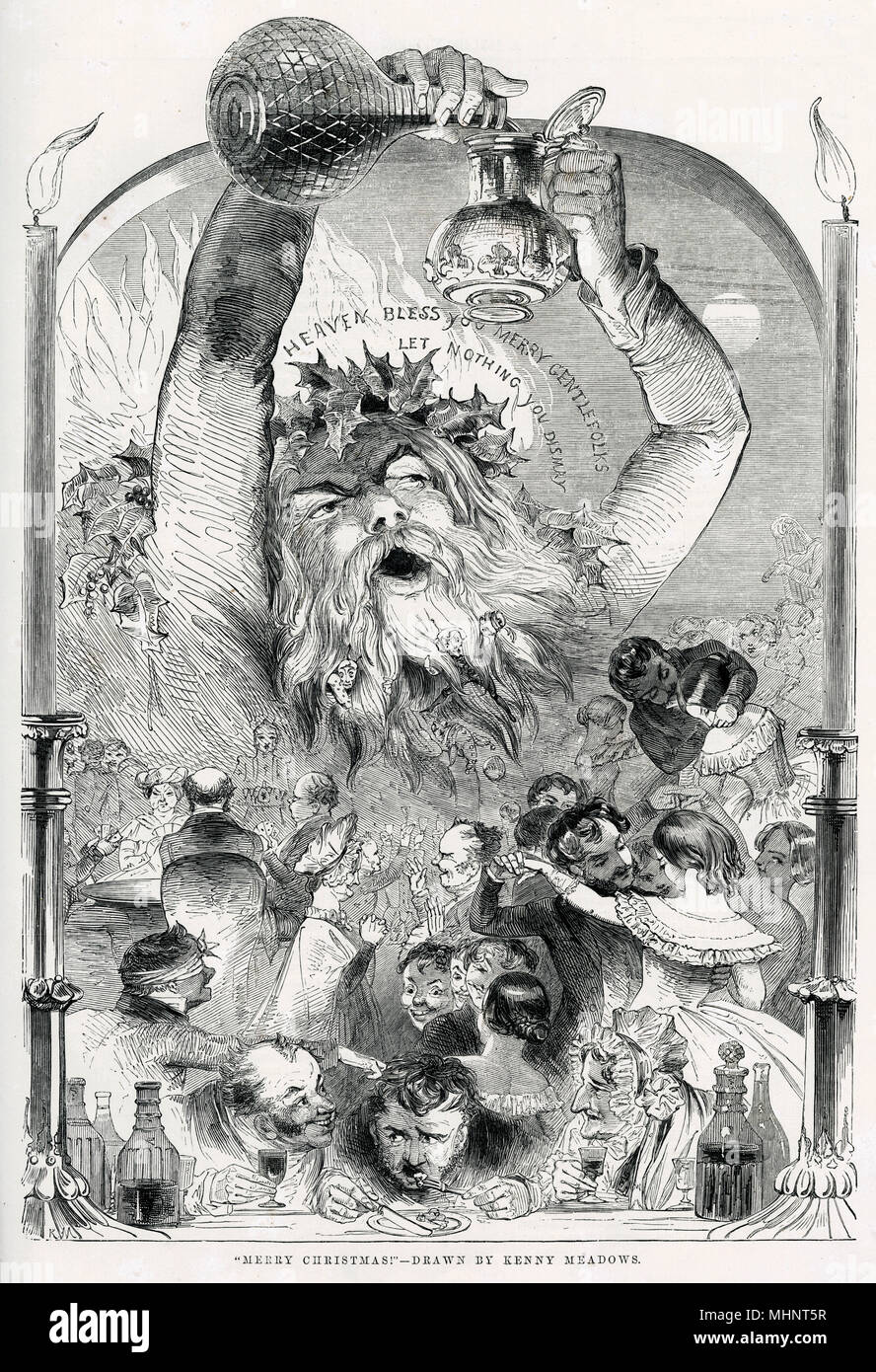 """Heaven Bless you Merry Gentlefolks let Nothing You Dismay,""  Page of Victorian men and women getting into the Christmas spirit! Indulging themselves in food, drink and dance.      Date: circa 1847 - Stock Image"