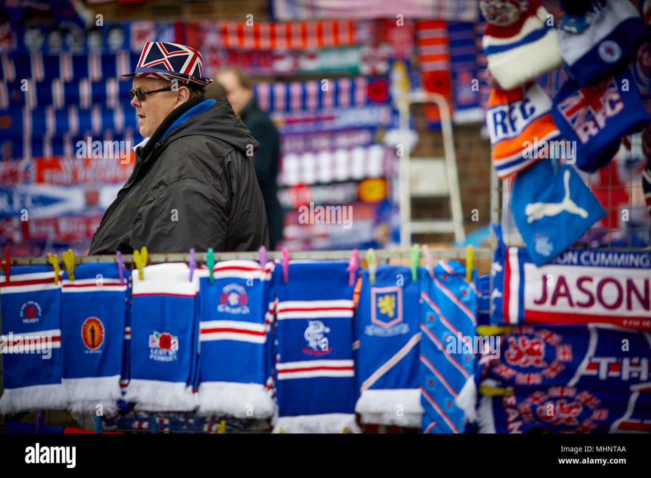 Glasgow in Scotland, Rangers FC street trader selling scarfs and