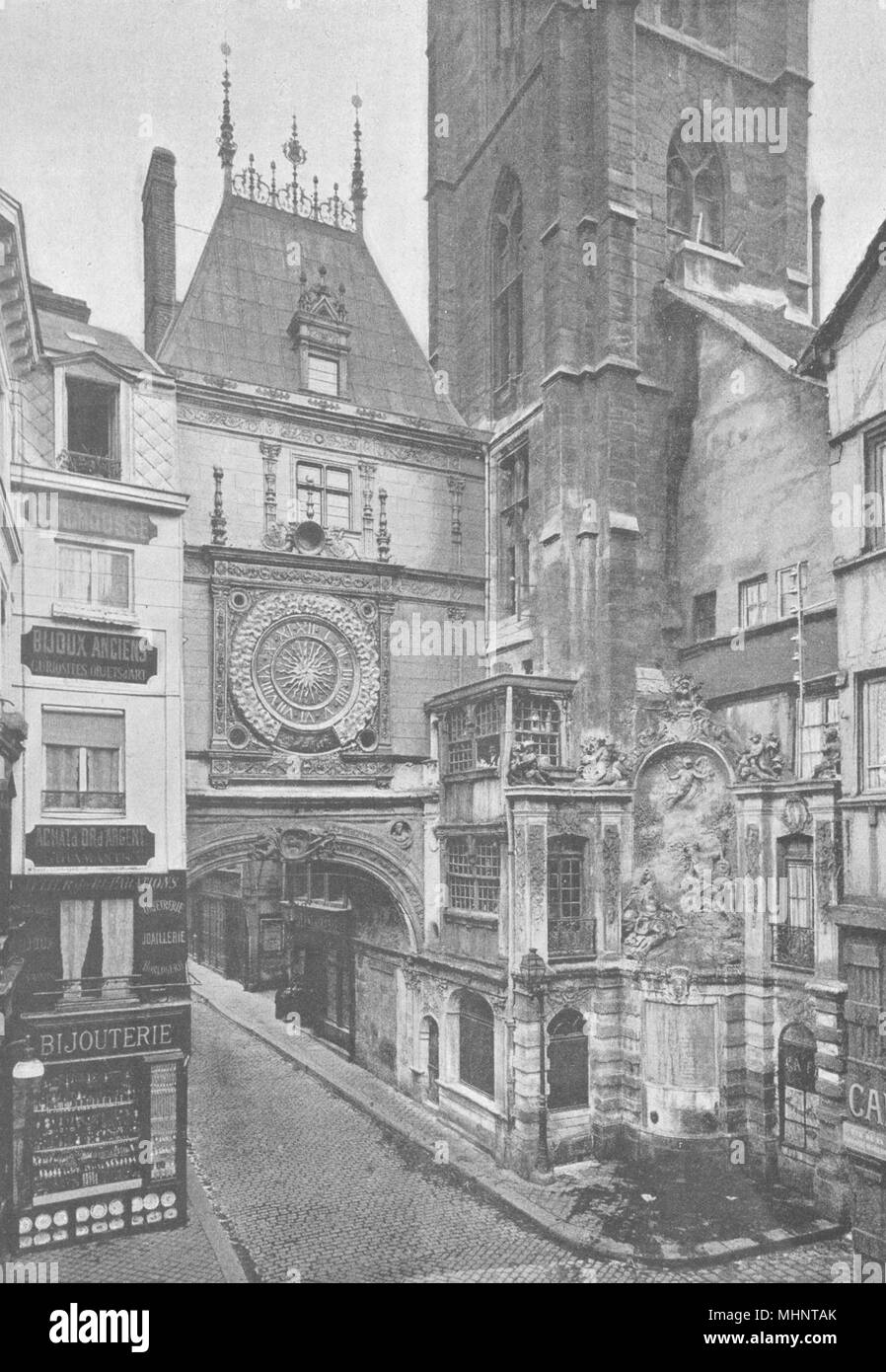 SEINE- MARITIME. Rouen. Grosse Horloge 1895 old antique vintage print picture - Stock Image
