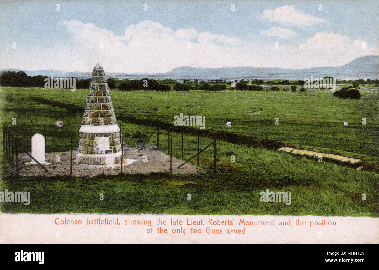 The Battlefield at Colenso - site of the heavy defeat of British forces by the Boers during the Second Boer War on 15th December 1899. The Monument to Lieutenant the Honourable Frederick Roberts (son of Field Marshal Lord Roberts) and positions of the only two guns saved can be seen in this view.     Date: circa 1910s - Stock Image