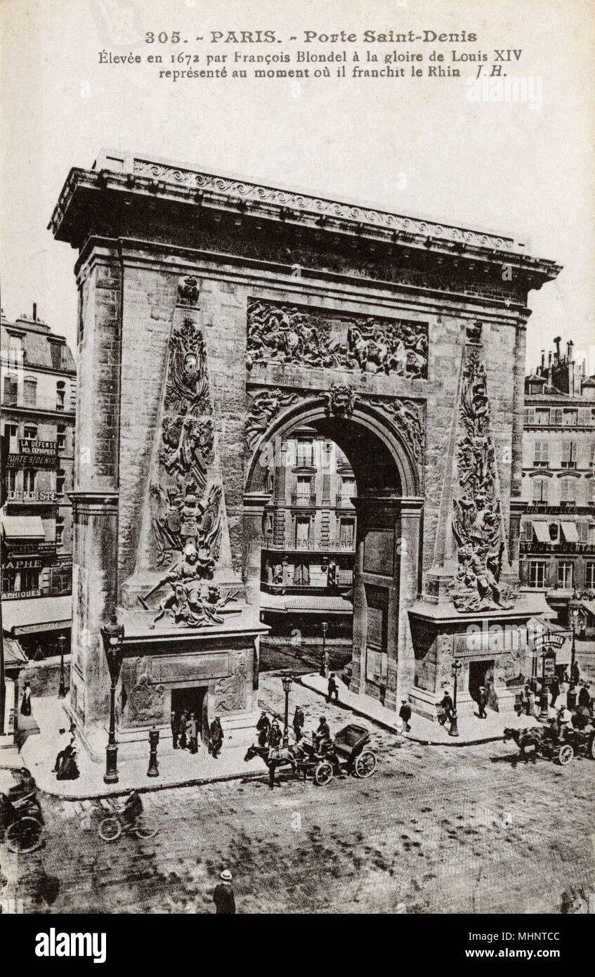 Paris, France - Porte Saint-Denis, designed by Francois Blondel showing the moment of the Crossing of the Rhine by the army of Louis XIV in 1672.     Date: circa 1910s - Stock Image