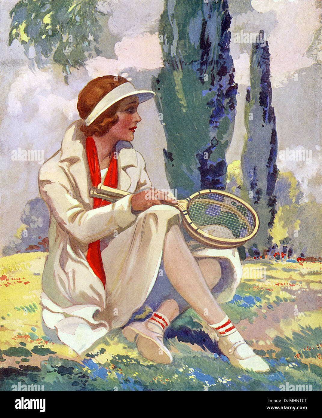 Lady Tennis Player having finished a game     Date: circa 1935 - Stock Image